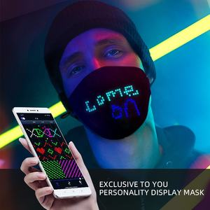 Glow Mask Led Glowing Facemask Custom Logo USB Charge Glow Kid Led Message Facemask APP Music Control El Wire Light Up Mask For Christmas Halloween Party