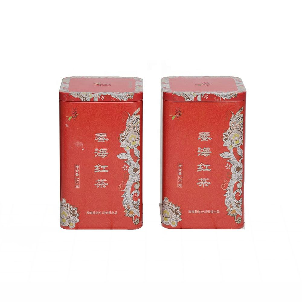Rectangle custom design sealed chinese black tea tin box