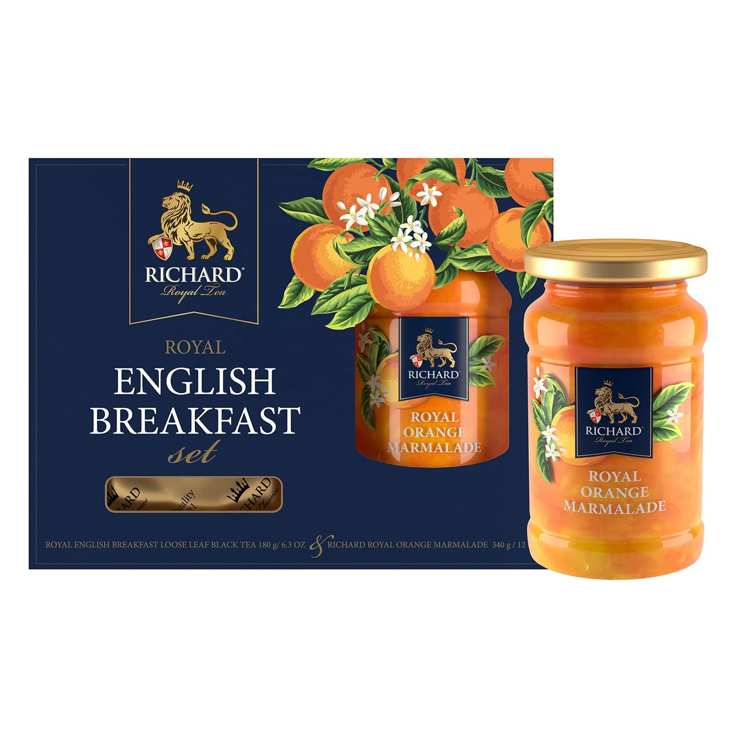 Royal English Breakfast Set - Gift that Makes You Feel Like a real British King (Classic Black Tea Blend with Orange Marmalade)