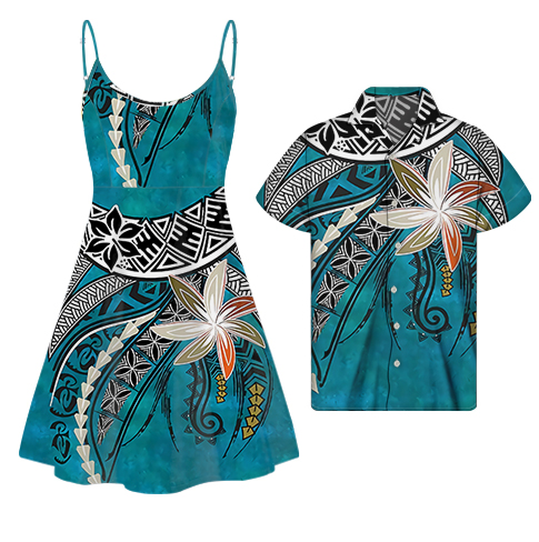 Couple Clothes 2021 Blue Polynesian Print Dress Clothing Vendor Womens Floral Slip Dress Match Men Shirt Couple African Clothing