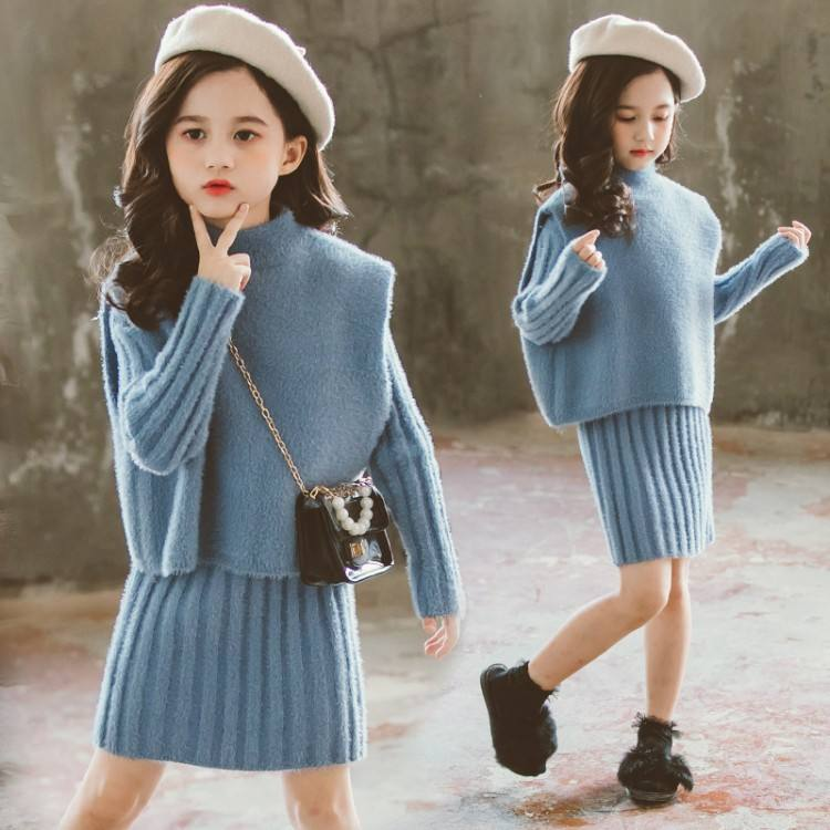 or32831b two-piece autumn/winter 2019 girls sets thickened Korean style sweater set fashion clothes