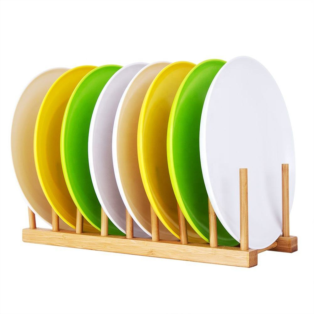 Bamboo Dish Plate Bowl Cup Book Pot Lid Cutting Board Drying Rack Stand Drainer Storage Holder Organizer Kitchen Cabinet