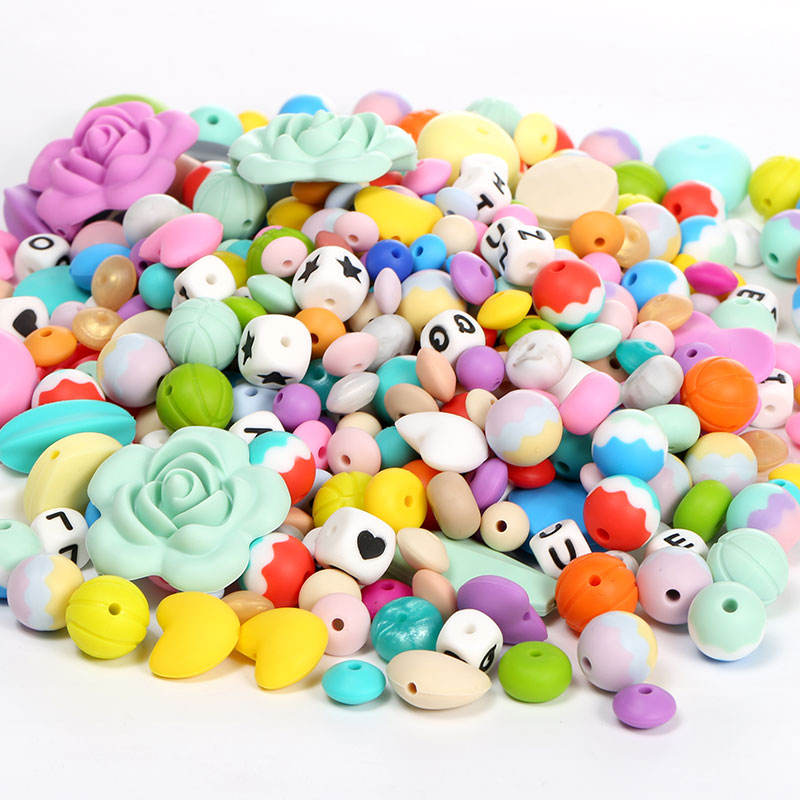 Food Grade Silicone Beads Wholesale Food Grade BPA Free Baby Teether Letter Bead Silicone Teething Beads Bulk For Jewelry