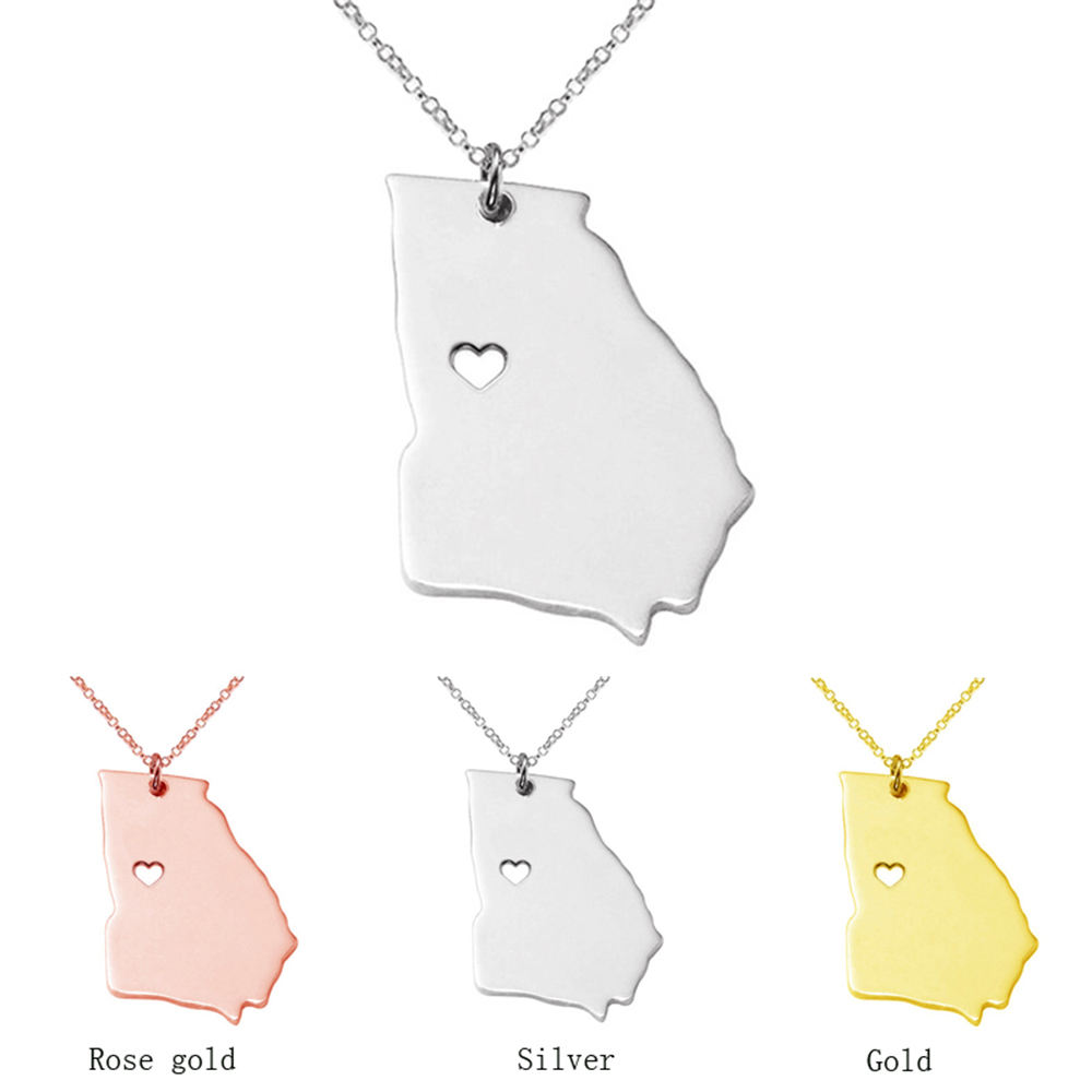 Stainless steel pendant georgia USA map necklaces fashion gold color drop charm necklace