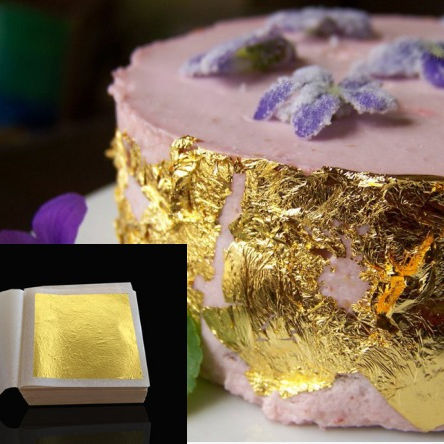 Bakery decoration ingredient edible gold leaf food additives edible gold 4.33cm 24k gold leaf for cake decorations