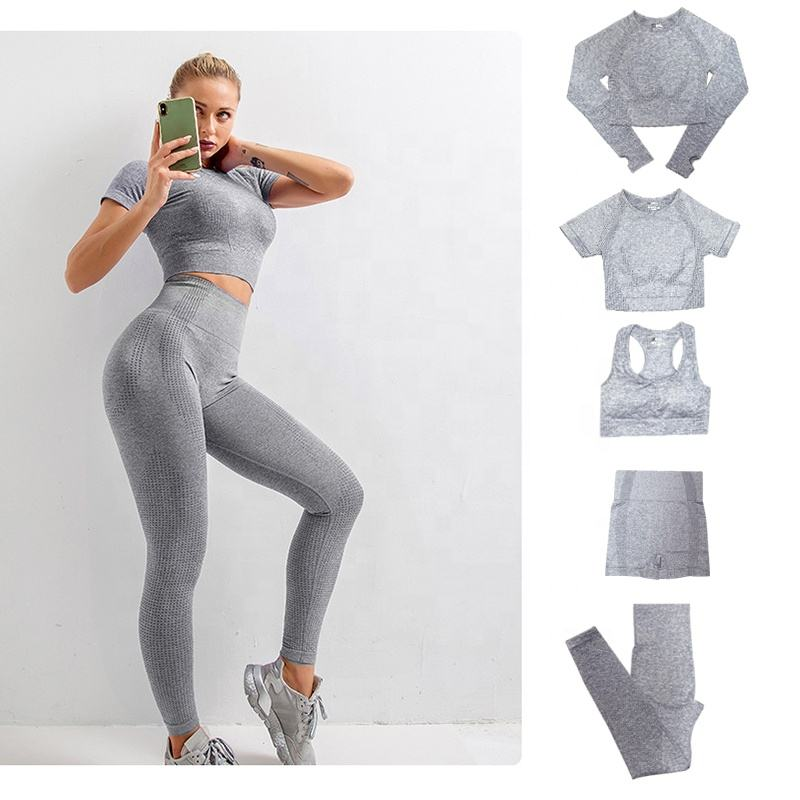 2/3/5PCS High Waist Workout Sportswear Seamless Gym Yoga Sets Fitness Women