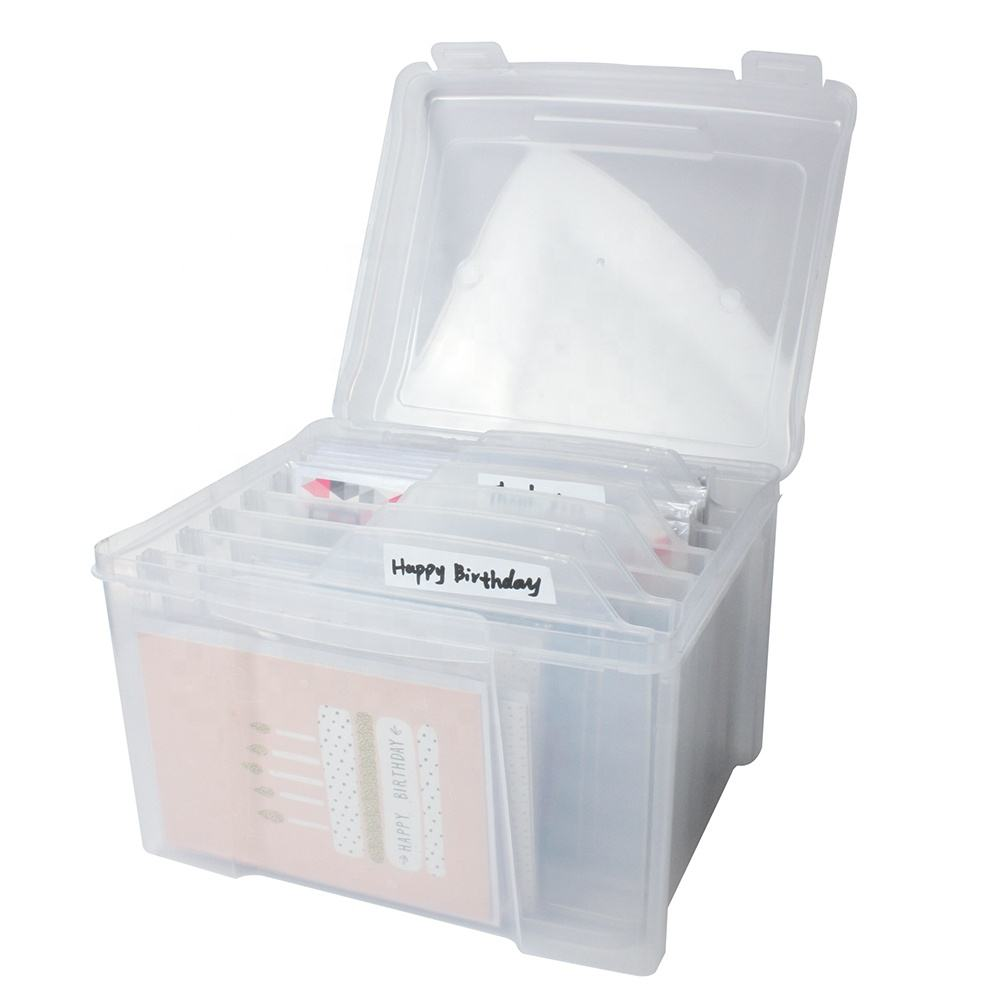 29575 Card keeper Art Storage Card file box with 6 Removable Dividers
