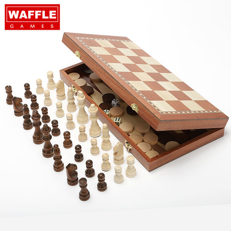 Wafel 'S 3 In 1 Hand Crafted Schaakstukken En Chips <span class=keywords><strong>Houten</strong></span> Schaken Dammen <span class=keywords><strong>Backgammon</strong></span> <span class=keywords><strong>Set</strong></span>
