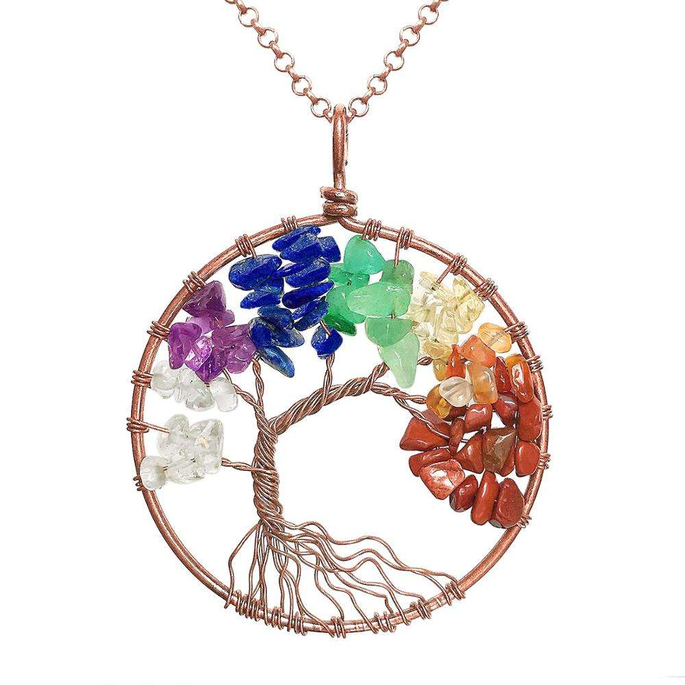 Wholesale Chakra Tree Of Life Pendant 7 Chakra Necklace For Sale