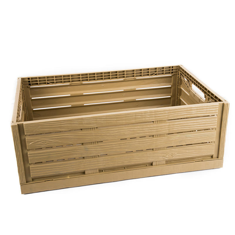 Wood look like effect folding Collapsible Plastic Storage RPC Crate for fruit and vegetable