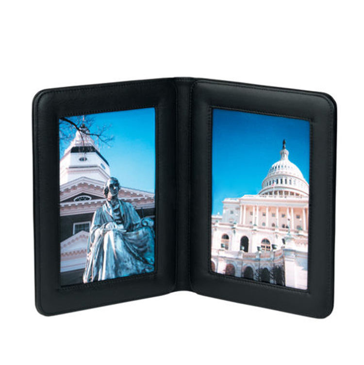"nappa black leather double folding picture frame 3""x5"" photo"