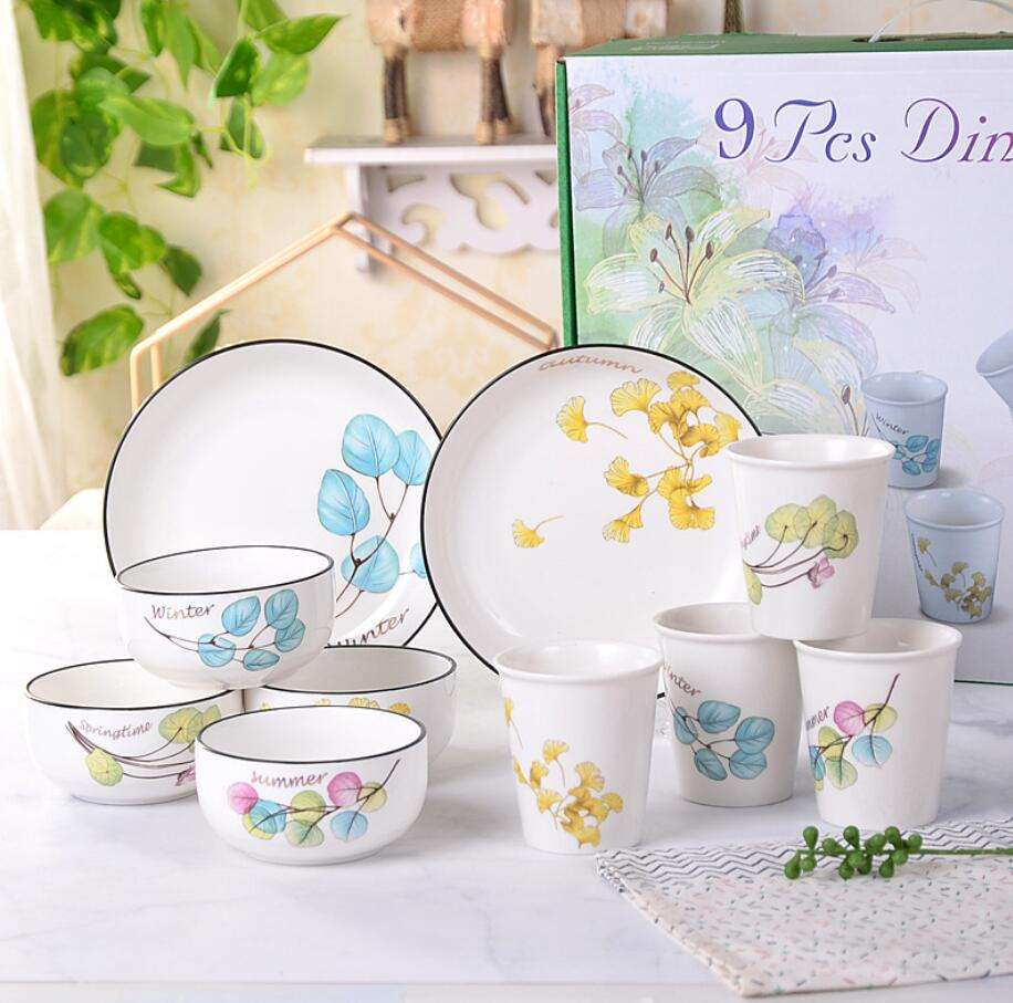 Same Series Different Printing White 9 pcs Bowl set Gift Item