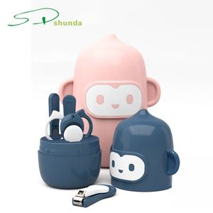 China Supplier 4-in-1 Cartoon Monkey Stainless Steel Mini Baby Manicure Pedicure Kit Children Manicure Tools Kids Nail Care Sets