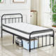 Metal Bed Frame Full Size White Headboard and Footboard Mattress Foundation Country Style Iron-Art Bed Twin size