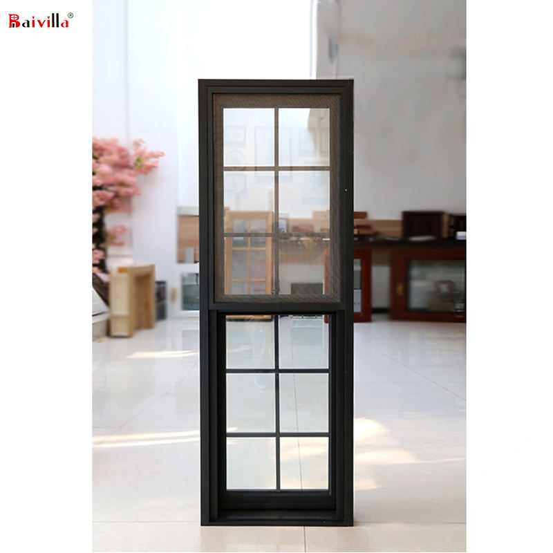 Thermal break aluminum vertical sliding double hung windows model in house window grill design hot sale in American
