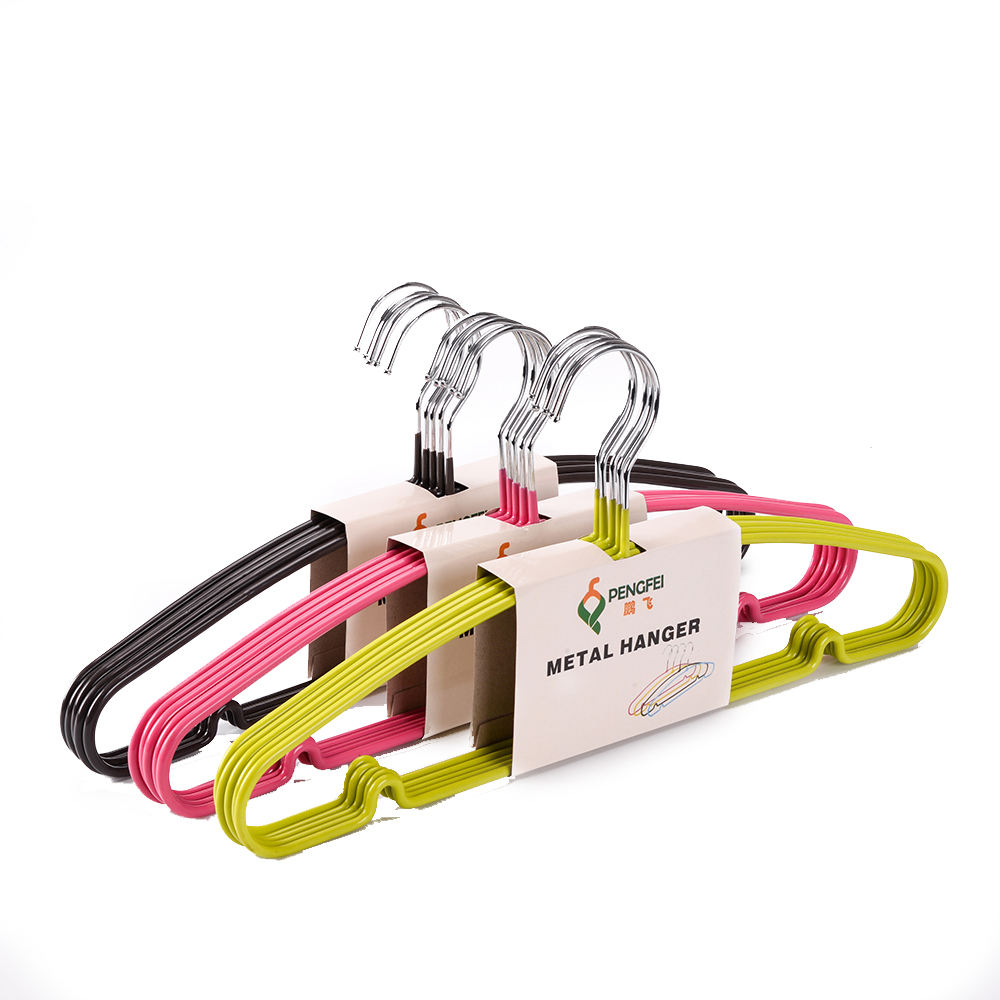 Hot selling cheap metal hanger colorful non-slip PVC metal wire hanger