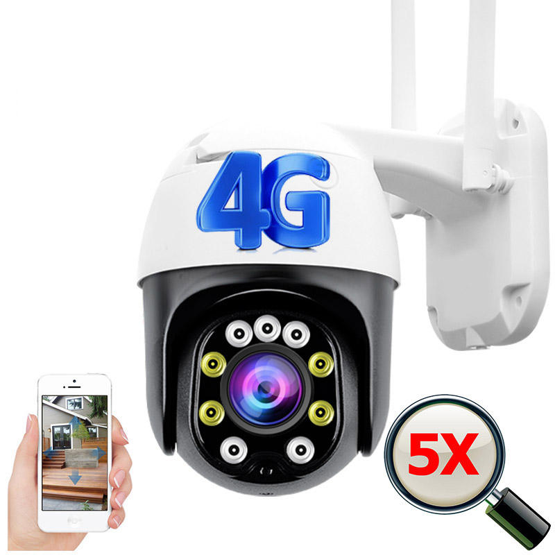 4g ptz camera 5x optical zoom 1080p fhd two way audio color night vision motion detection all weather wifi cctv camera 4g sim