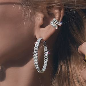 2020 new arrived iced out bling 5A cz women jewelry sparking bling silver cz cuban chain hoop earring