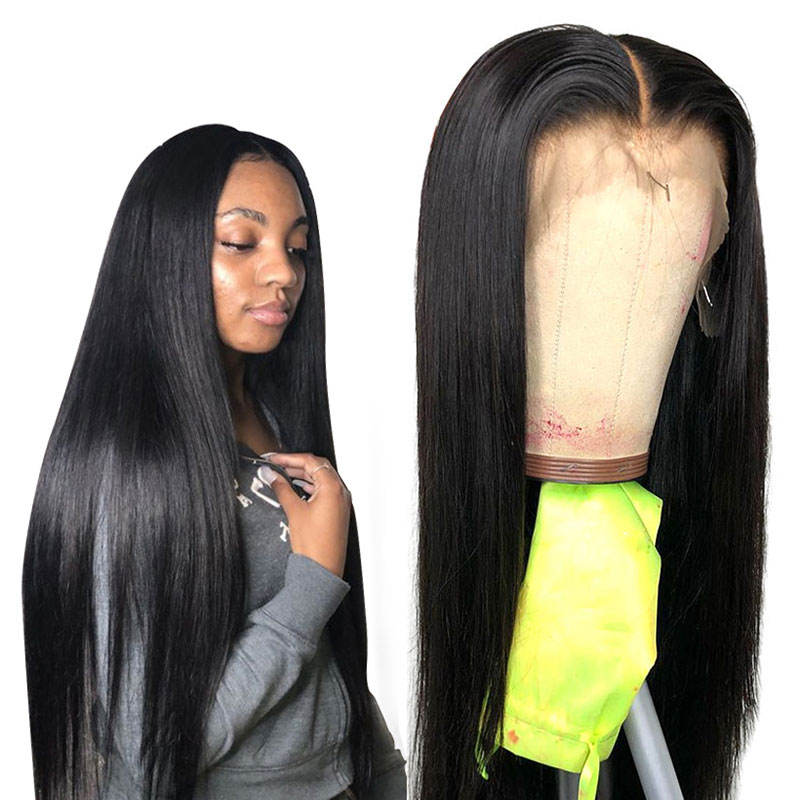 Human Hair Extensions Wigs 40Inch Straight Hd Transparent Swiss Lace Wig Grade 10 Cuticle Aligned Unprocessed Virgin Indian Hair