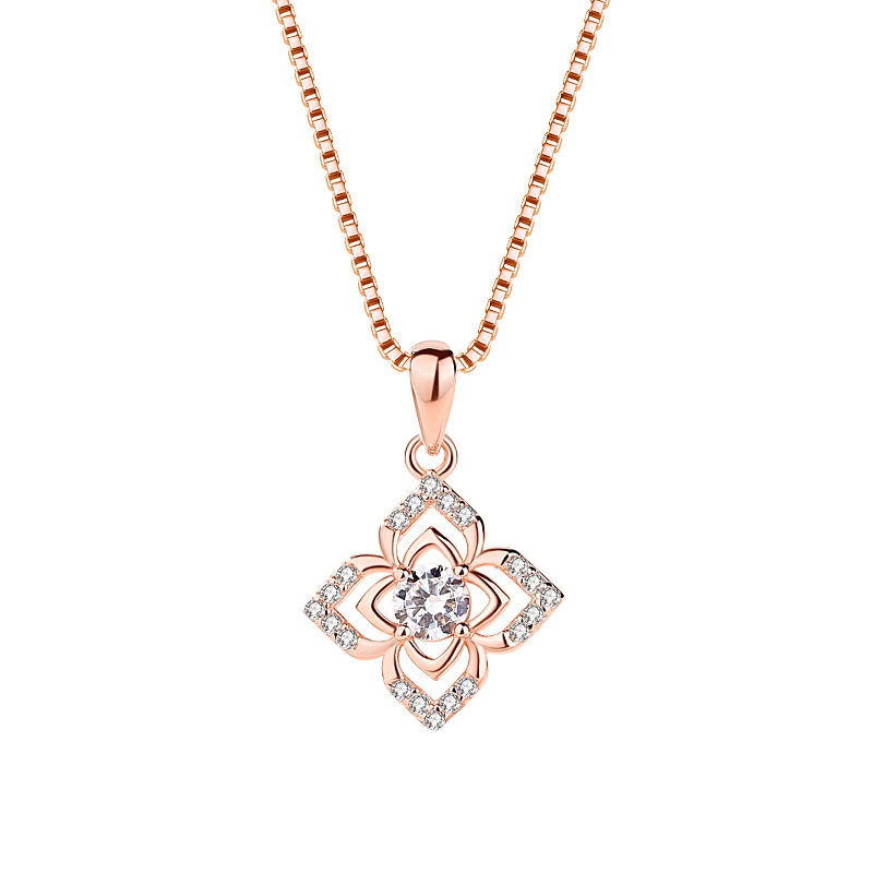 clover simple clavicle chain woman sterling silver diamond fashion rose gold pendant necklace