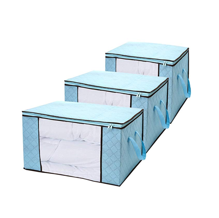 Folding Containers See-Through Window Household Home Organizers Fabric Storage Bins 3 Pack Blue