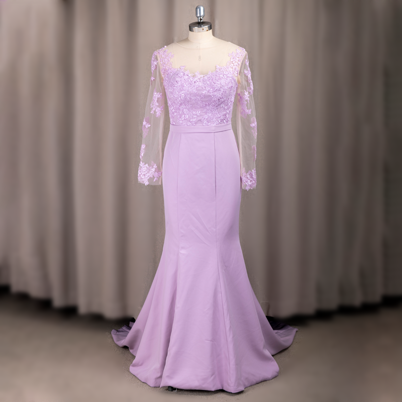 #6007 Purple Cheap Fat Floral Long Sleeve Lilac O-Neck Sheath Lace Latest Bridesmaid Dress