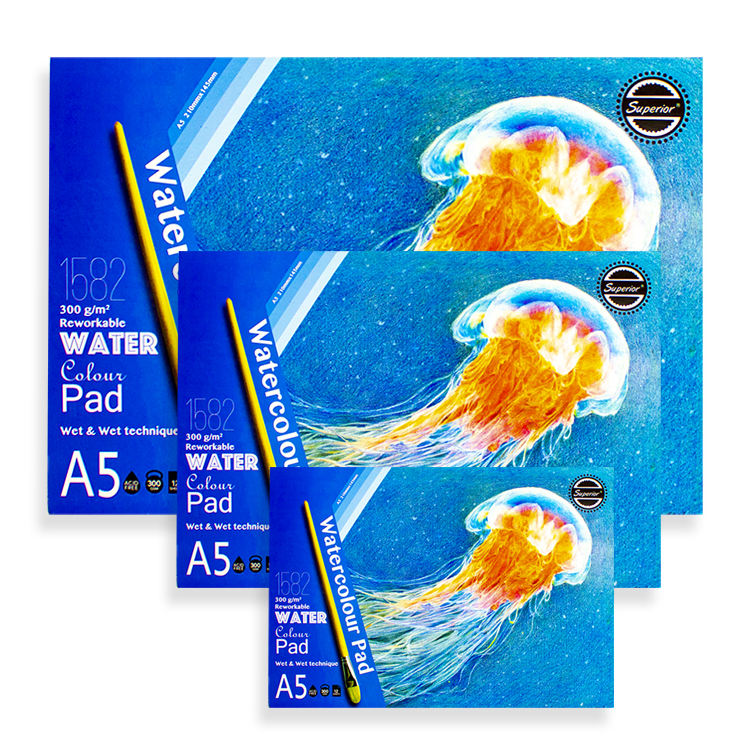 Factory price watercolor paper 300g cotton A3 A4 A5 superior solid watercolor sketchbook pad notebook