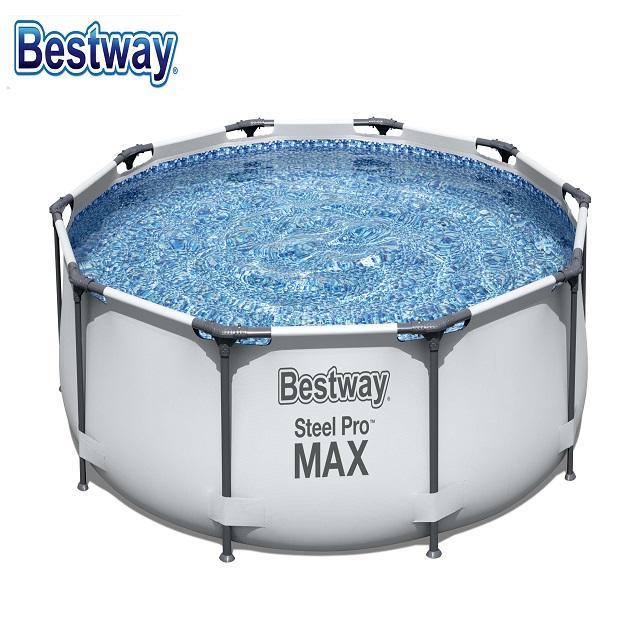 BESTWAY 56408 Above Ground Round Steel Frame Design Pool Durable Swim Pool for family