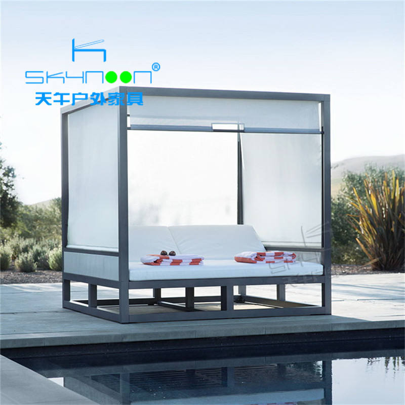 Hot sale sunbed with sunshade guaranteed quality chaise lounger modern patio lounge factory price garden outdoor daybed(33016)