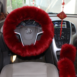 100% fake fur comfortable steering wheel covers gear shift l
