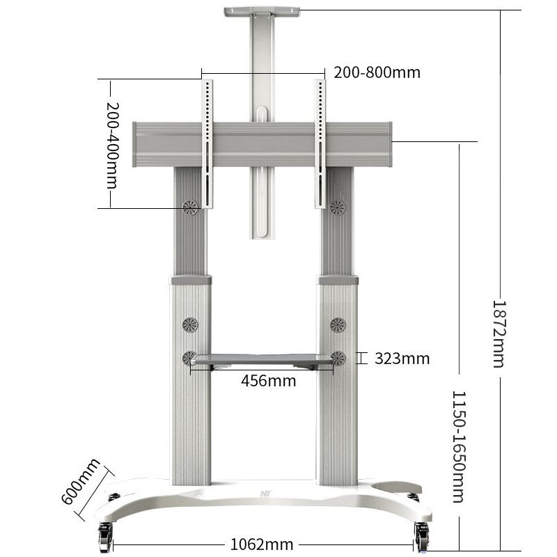 BOE free floor standing mounting moving bracket telescoping whiteboard bracket with caster wheels Rolling
