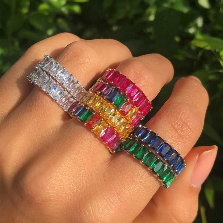 5 color 2019 new Design cubic zirconia engagement band colorful cz fashion ring women jewelry