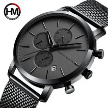 HANNAH MARTIN HM-109 Simple Man Watches Black Stainless Steel Mesh Strap Custom Logo Men Watch Black 2019