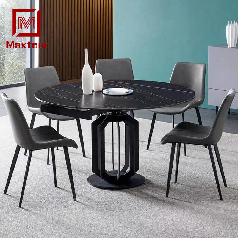 Slate Retractable Folding Round Table Multifunctional Area Dual-purpose Dining Table