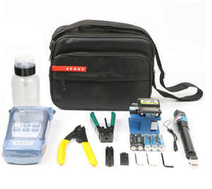 FTTH Assembly Stripping Splicing Termination Fiber Optic Tool Kit with Optical Power Meter VFL Fiber Cleaver
