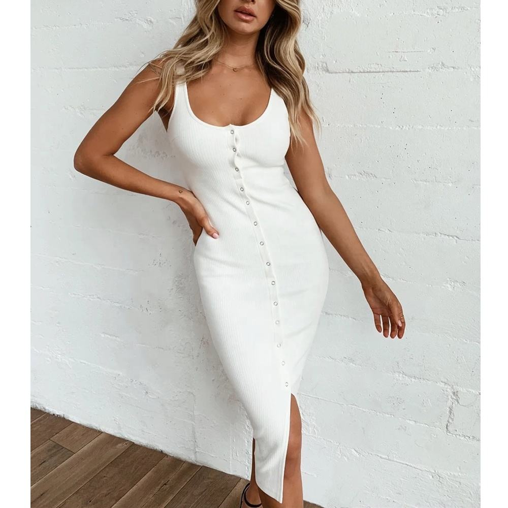 OEM Latest Casual Wear Fitted Knitted Summer Custom Bodycon Elegant Ladies Sexy Maxi Slinky White Dress For Women
