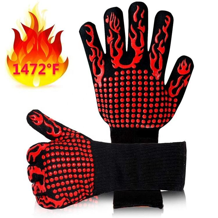Customized 1472F Barbecue Oven Slip Silicone Heat Resistant Bbq Gloves For Cooking Baking