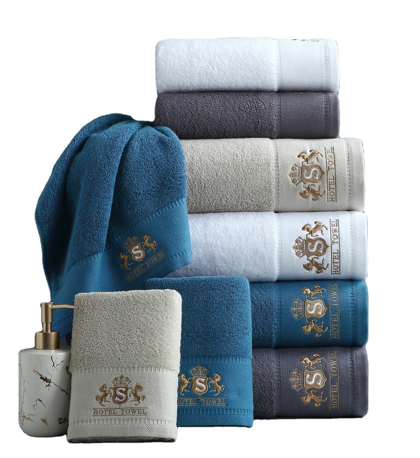 6 Piece Luxury Combed Cotton Bath Towel Gift Set