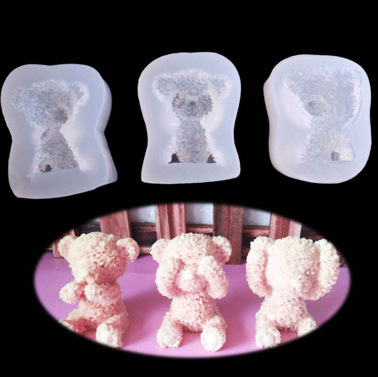 3D Plush Bear crystal Silicone mold DIY baking cake chocolate biscuit mold