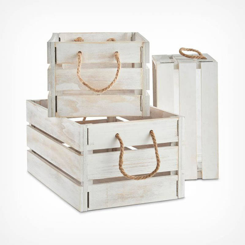 Rustic Set of 3 White-Washed Wooden Storage Crates with Jute Rope Handles
