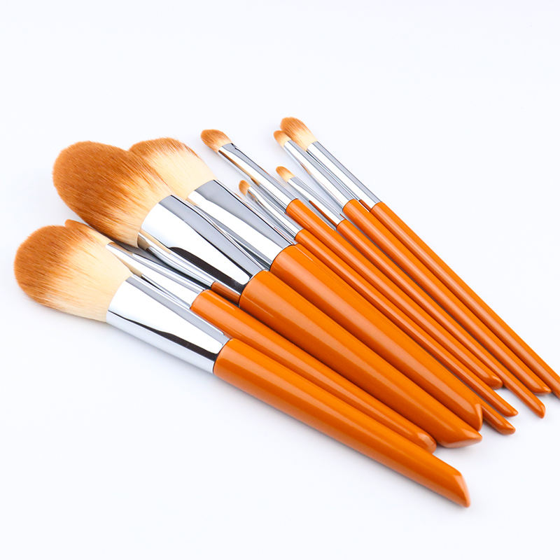 NEW Arrival 10PCS Orange Color Makeup Tools With Personality Cooper Ferrule Wooden Handle For OEM Private Label Powder Brush