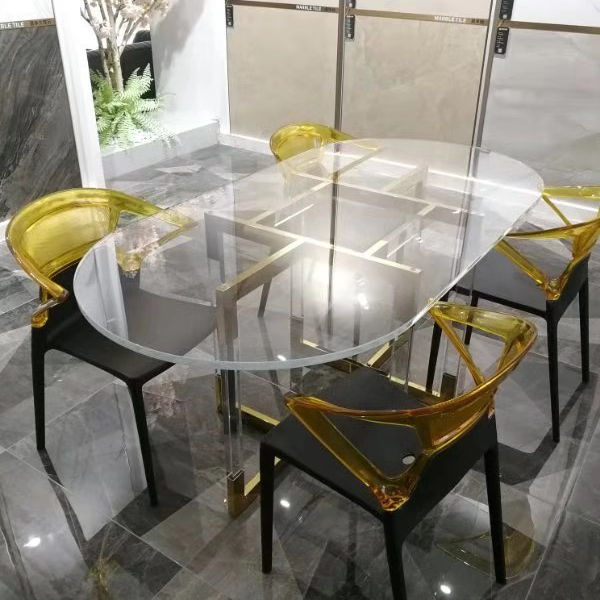 Clear royal design lucite acrylic dining table set