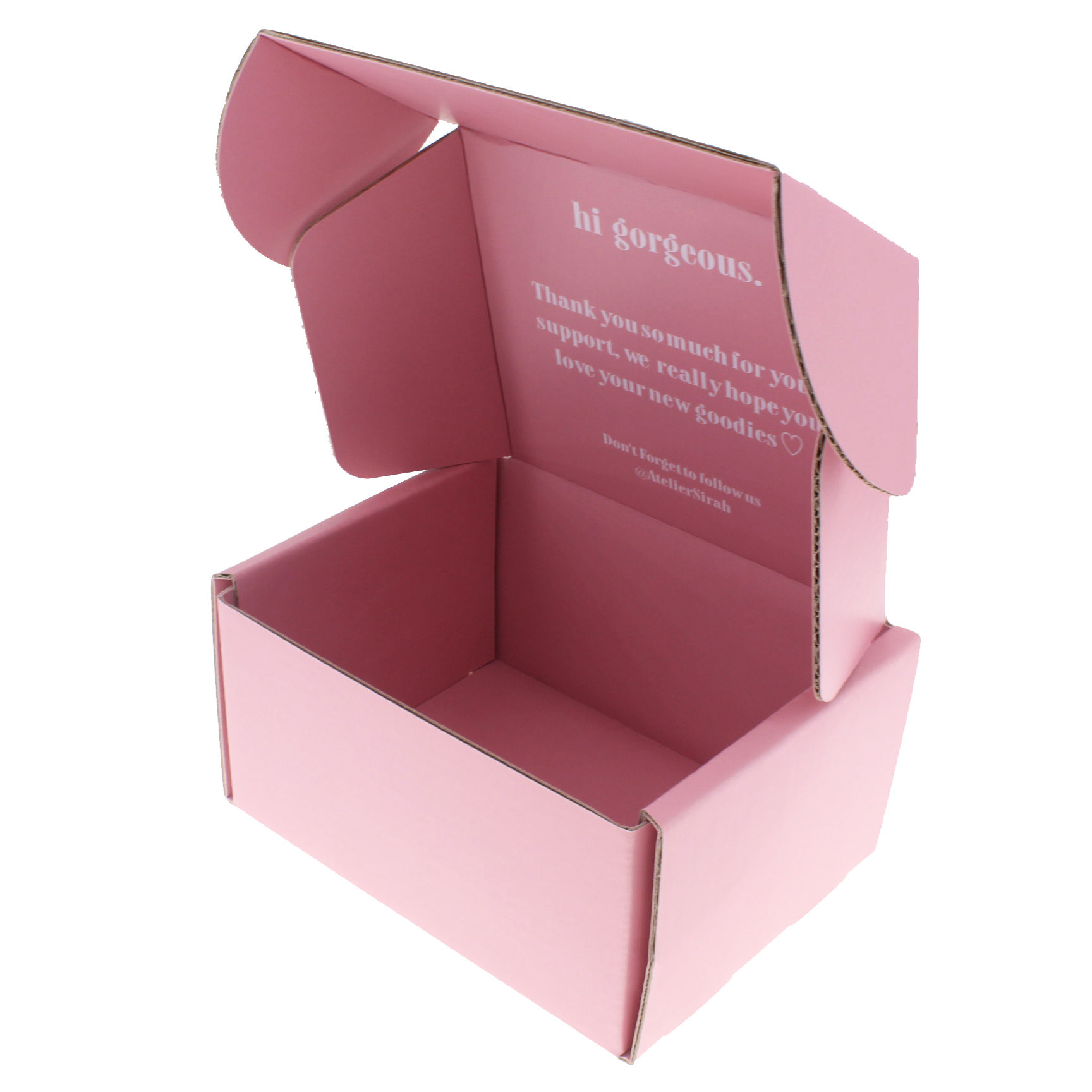 Pink rigid folding packaging box corrugated cardboard paper mailer box packaging shipping box