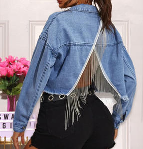 Amazon back-ripped blue crop jeans white jacket women