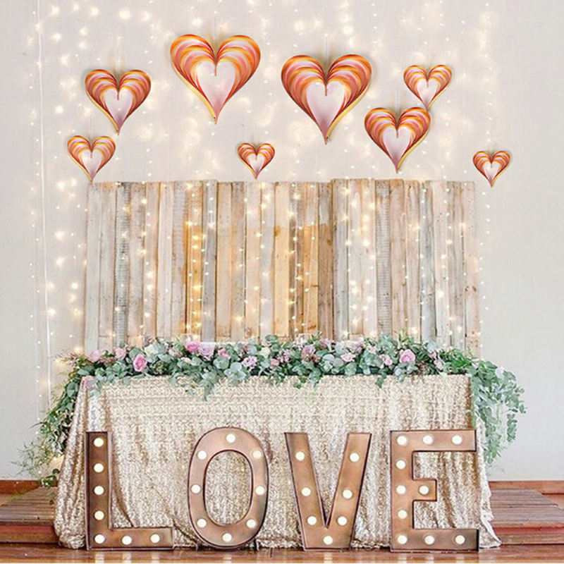 4pcs/set 3D Heart Shape Hanging Wedding Decoration Romantic Room Decoration for Marriage Valentine's Day Home DIY Decoration