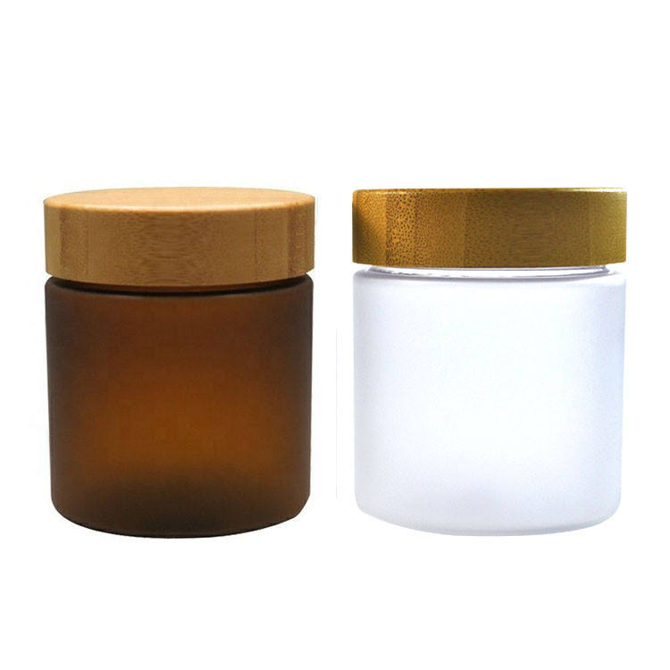 Cosmetic Wide mouth food grade container 250ml frosted clear amber pet plastic cream jar with bamboo lid