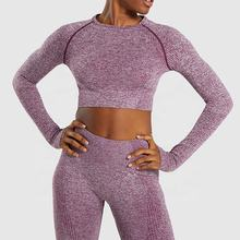 Women Vital Seamless Yoga Set Gym Clothing Fitness Leggings Cropped Shirts Sport Suit Women Long Sleeve Tracksuit Active Wear