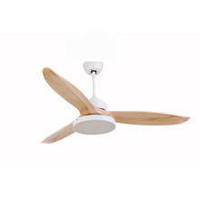 Luxury DC motor 52 inch LED ceiling fan light with 5 speeds control switch and 3 wooden blades