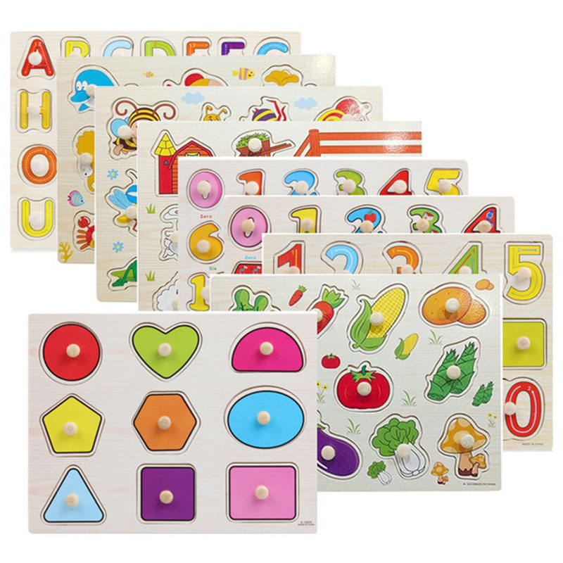 85 Styles 30cm Kids Early Educational Wooden Toy Baby Learning Hand Grab Jigsaw Alphabet Digit Number Puzzle