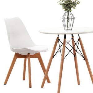 Dinning room restaurant furniture Cushion Wooden Legs PP Tulip Modern White Plastic Dining Chairs